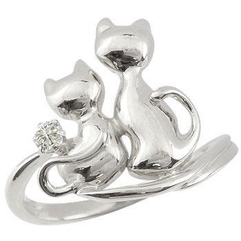 猫 ダイヤモンド リング 指輪 ホワイトゴールドk18 4月誕生石