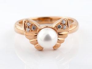 リボン リング 真珠 パール ダイヤモンド ダイヤ 指輪 ピンキーリング ピンクゴールドk18
