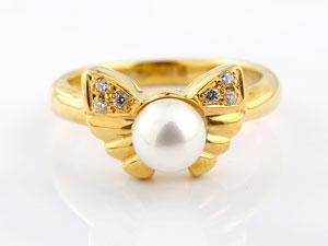 リボン リング 真珠 パール ダイヤモンド ダイヤ 指輪 ピンキーリング イエローゴールドk18