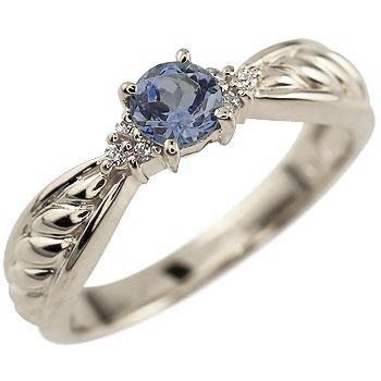 アイオライト プラチナ リング ダイヤモンド 指輪 ピンキーリング
