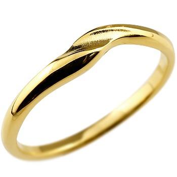 リング 指輪 ピンキーリング 地金リング イエローゴールドk18 つや消し シンプル