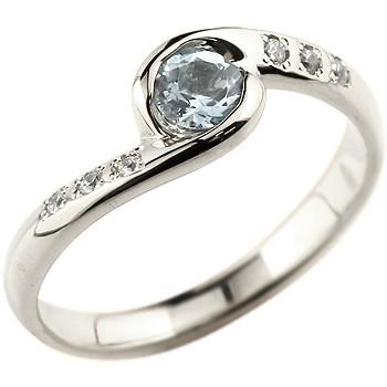 アクアマリン シルバーリング 指輪 スパイラルリング ピンキーリング 3月誕生石