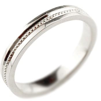 指輪 ホワイトゴールドK18 リング 地金リング ピンキーリング ミル打ち 宝石なし シンプル レディース