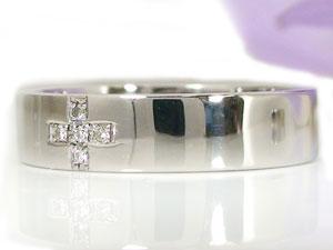 クロス ダイヤモンド リング エンゲージリング ホワイトゴールドK18 婚約指輪