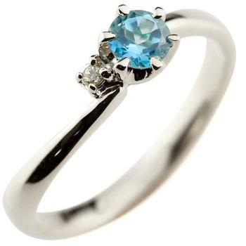 ブルートパーズ プラチナリング 指輪 ピンキーリング 11月誕生石