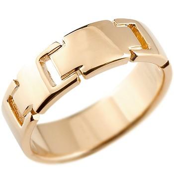 クロス リング 指輪 ピンキーリング 地金リング 幅広指輪 ピンクゴールドk18 18金 十字架 シンプル 宝石なし レディース