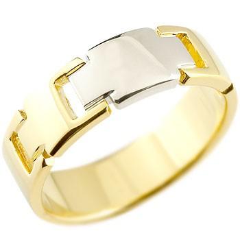 クロス リング 指輪 イエローゴールドK18 プラチナ コンビリング 地金リング 幅広指輪 ピンキーリング 十字架 シンプル 宝石なし レディース