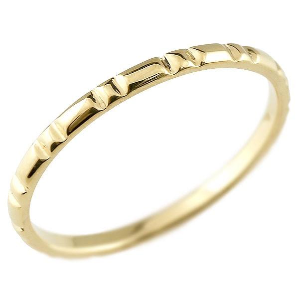 ピンキーリング イエローゴールドk10 極細 10金 華奢 ストレート 指輪