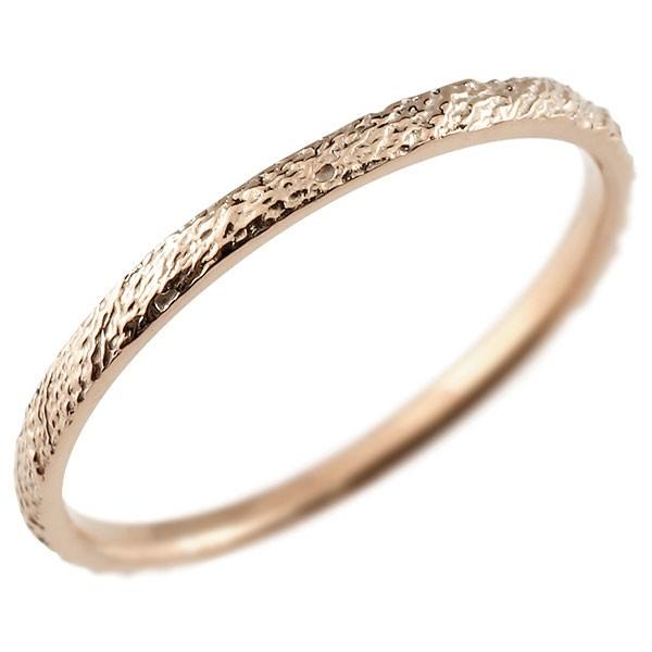 ピンキーリング ピンクゴールドk18 極細 18金 華奢 アンティーク ストレート 指輪