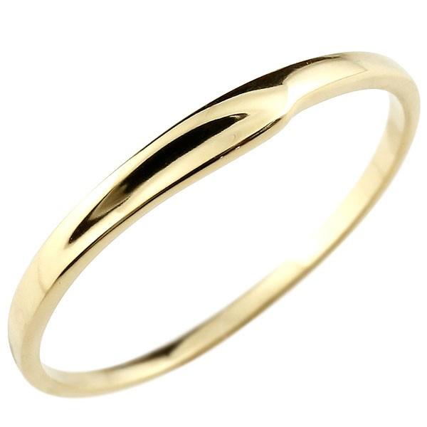 ピンキーリング イエローゴールドk18 18金 極細 華奢 指輪