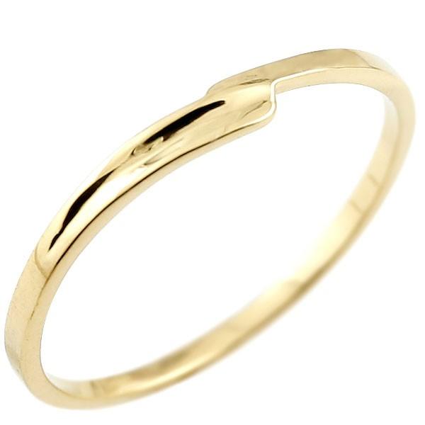 ピンキーリング イエローゴールドk18 18金 極細 華奢 スパイラル 指輪
