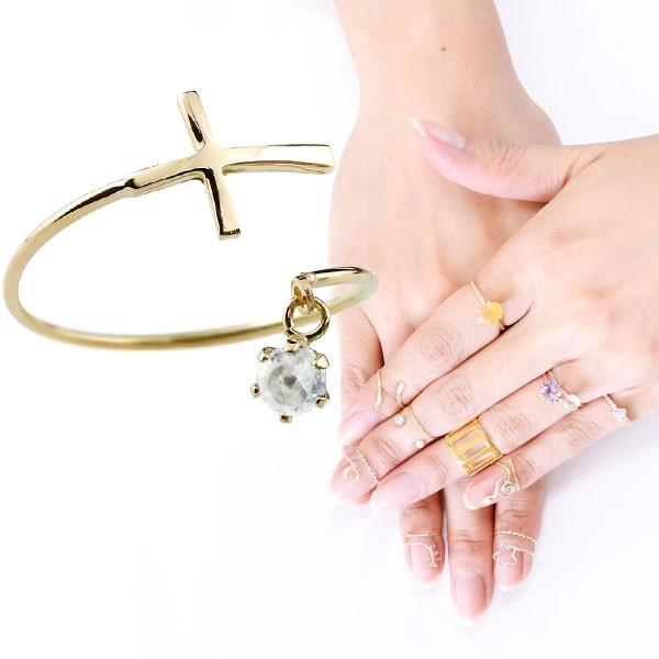 ファランジリング クロス 十字架 ブルームーンストーン イエローゴールドk18 ミディリング 関節リング 指輪 ピンキーリング 18金 レディース ネイルリング フリーサイズ 3月誕生石