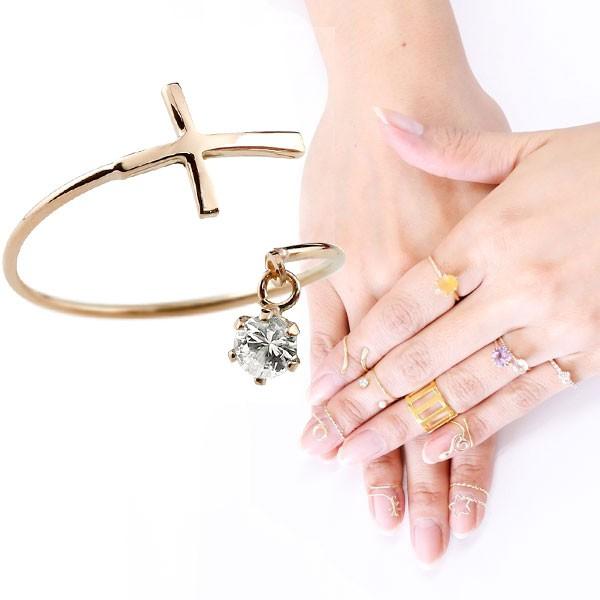 ファランジリング クロス 十字架 ダイヤモンド ピンクゴールドk18 ミディリング 関節リング 指輪 ピンキーリング 18金 レディース ネイルリング フリーサイズ