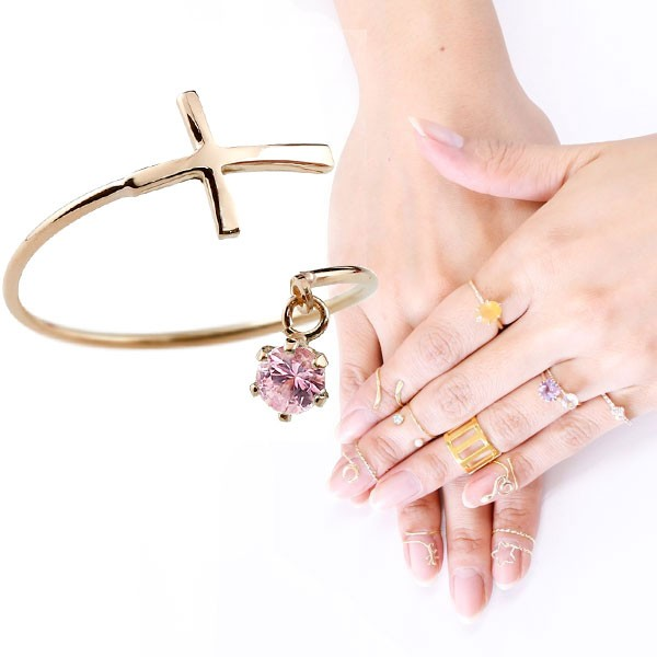 ファランジリング クロス 十字架 ピンクサファイア ピンクゴールドk18 ミディリング 関節リング 指輪 ピンキーリング 18金 レディース ネイルリング フリーサイズ 9月誕生石