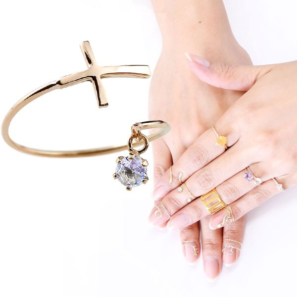 ファランジリング クロス 十字架 タンザナイト ピンクゴールドk18 ミディリング 関節リング 指輪 ピンキーリング 18金 レディース ネイルリング フリーサイズ 12月誕生石