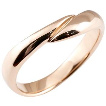 指輪 ピンクゴールドk18 リング ピンキーリング 地金リング 宝石なし スパイラル ウェーブリング 18金