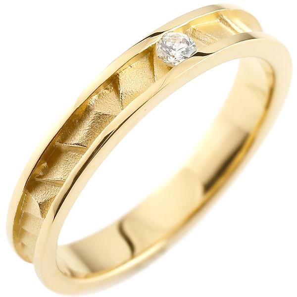 イエローゴールドリング 指輪 ピンキーリング ダイヤリング つや消し シンプル