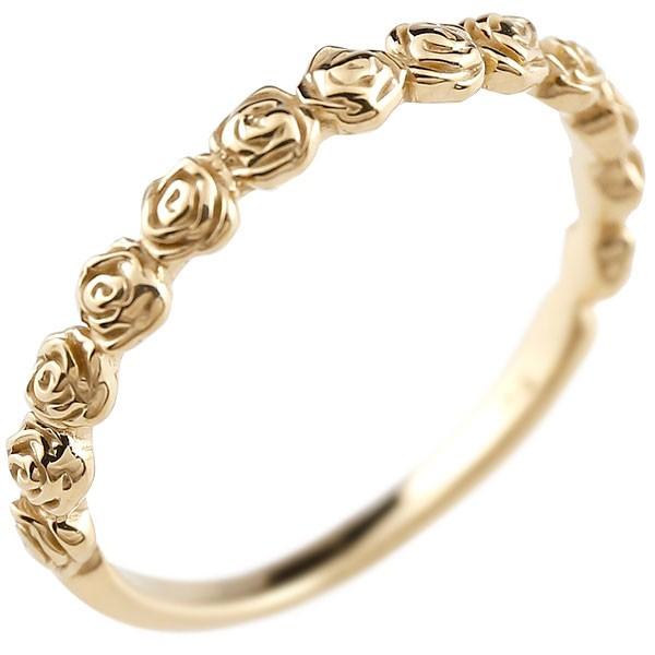 ゴールドリング ピンキーリング k10 極細 華奢 アンティーク ストレート 指輪