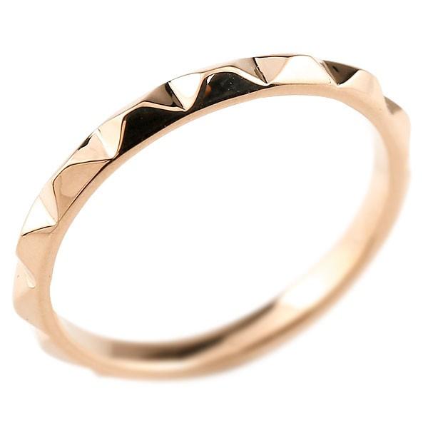 婚約指輪 エンゲージリング 指輪 ピンクゴールドk18 レディース 地金リング 18金