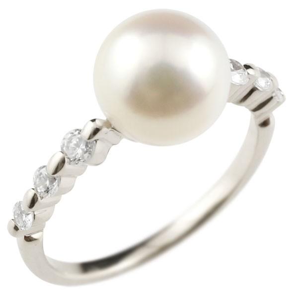 ピンキーリング 真珠 パール ホワイトゴールドk10 リング  指輪
