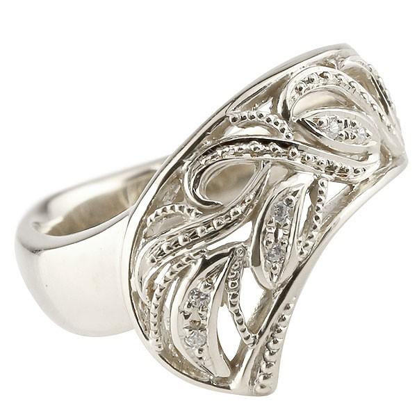 リング ダイヤモンド ホワイトゴールドk10 指輪 透かし 幅広リング アラベスク レディース 10金