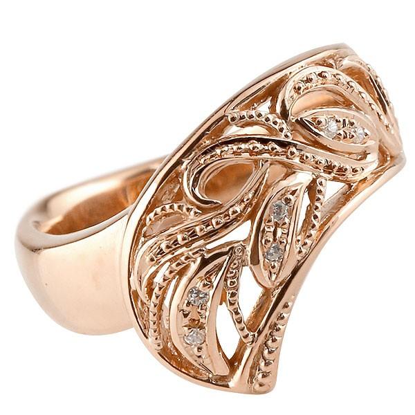 リング ダイヤモンド ピンクゴールドk10 指輪 透かし 幅広リング アラベスク レディース 10金