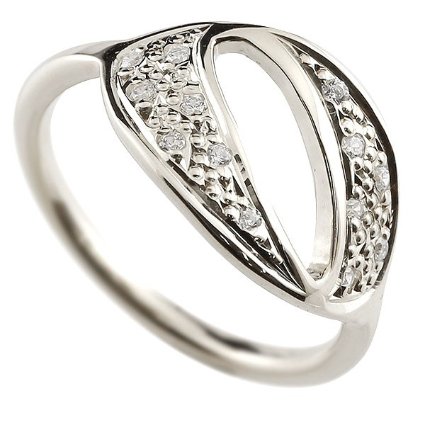 ナンバー NO.0 ダイヤモンド ホワイトゴールド k10 リング 指輪 数字 ピンキーリング