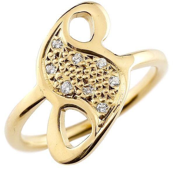 ナンバー No.8 ダイヤモンド イエローゴールド k18 リング 指輪 数字 ピンキーリング
