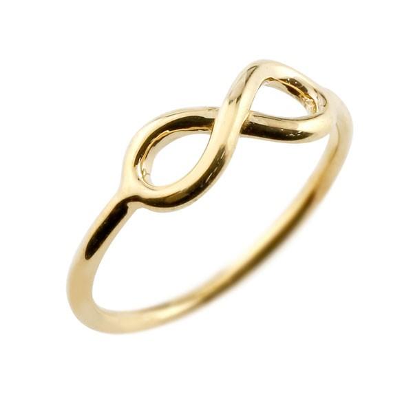 リング イエローゴールドk18 インフィニティ リング 指輪 ストレート 18金
