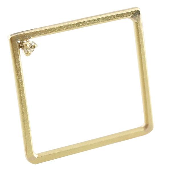リング ダイヤモンド スクエア イエローゴールドk18 指輪 ピンキーリング 四角 ホーニング