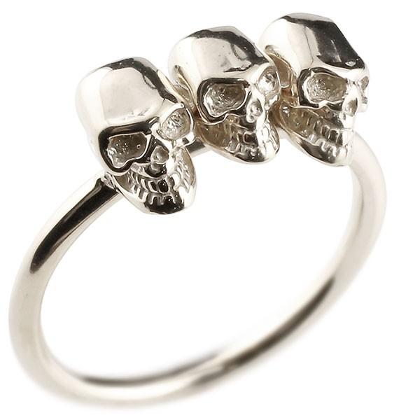 プラチナリング ドクロ 指輪 ピンキーリング pt900 髑髏 スカル レディース