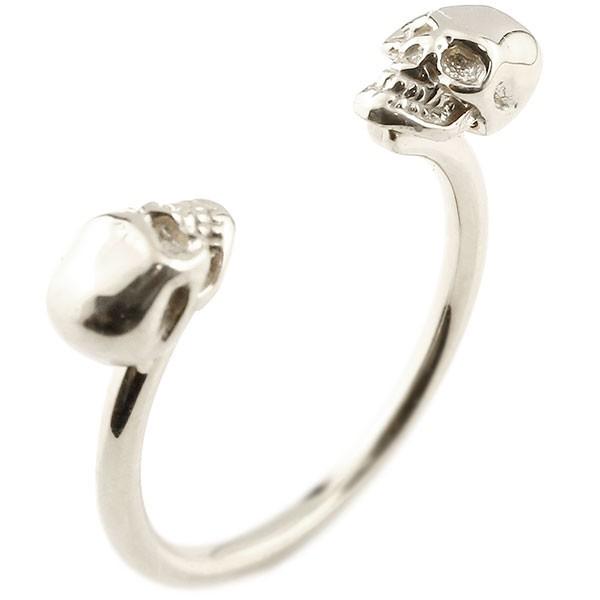 プラチナリング ドクロ 指輪 フリーサイズ フォークリング ピンキーリング pt900 髑髏 スカル レディース