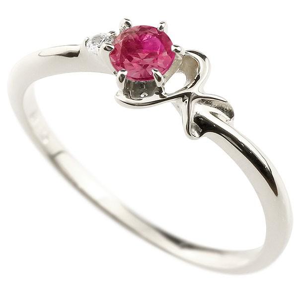 イニシャル K ピンキーリング ルビー 華奢リング 7月誕生石 プラチナ 指輪 アルファベット ネーム レディース 人気 7月誕生石