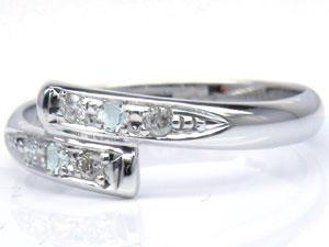 【送料無料】ピンキーリングホワイトゴールドk10アクアマリンダイヤモンド0.08ct指輪 小指用にも【工房直販】