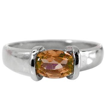 スペサタイトガーネット リング ピンキーリング 指輪 ホワイトゴールドk18