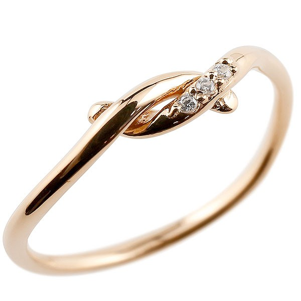 ダイヤモンド ピンクゴールドk18 エンゲージリング 結び リング ピンキーリング 指輪 18金 華奢 ストレート ダイヤ
