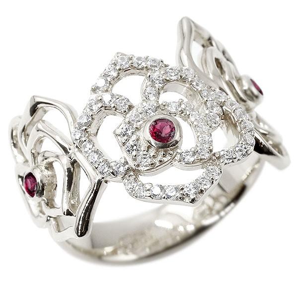 リング バラ キュービックジルコニア ルビー ホワイトゴールドk10 婚約指輪 ピンキーリング 指輪 幅広 エンゲージリング 薔薇 ローズ 宝石
