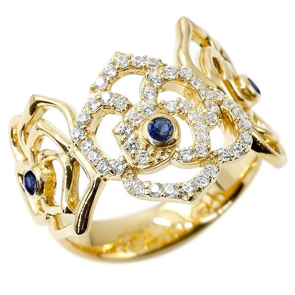 リング バラ キュービックジルコニア サファイア イエローゴールドk10 婚約指輪 ピンキーリング 指輪 幅広 エンゲージリング 薔薇 ローズ 宝石