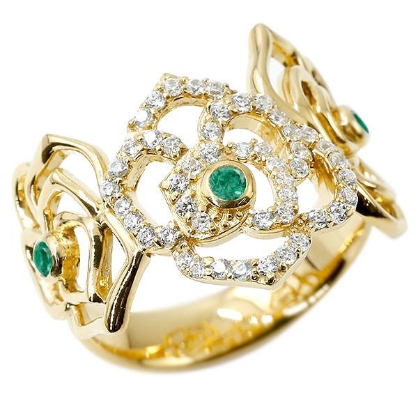 リング バラ ダイヤモンド エメラルド イエローゴールドk18 婚約指輪 ピンキーリング ダイヤ 指輪 幅広 エンゲージリング 薔薇 ローズ 宝石