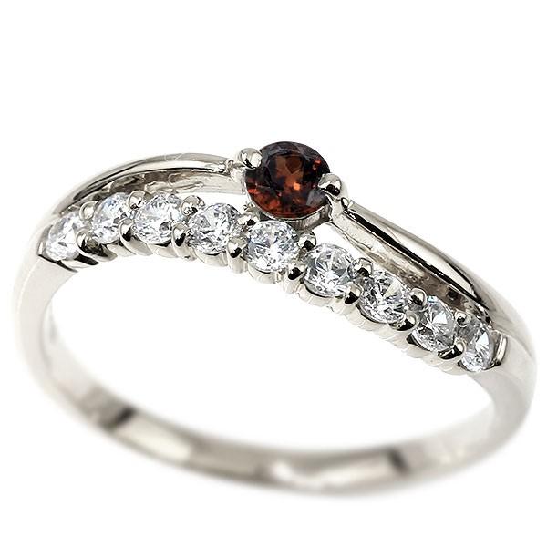 リング ホワイトゴールドk10 ガーネット 指輪 誕生石 ピンキーリング