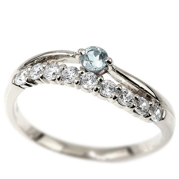 プラチナリング アクアマリン 指輪 ピンキーリング