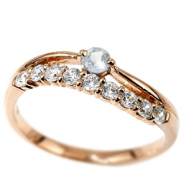 リング ピンクゴールドk18 ブルームーンストーン 指輪 ピンキーリング