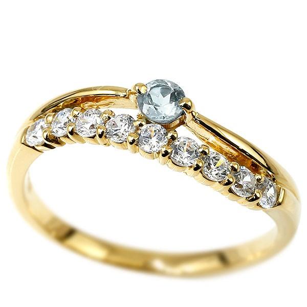 リング イエローゴールドk18 アクアマリン 指輪 ピンキーリング