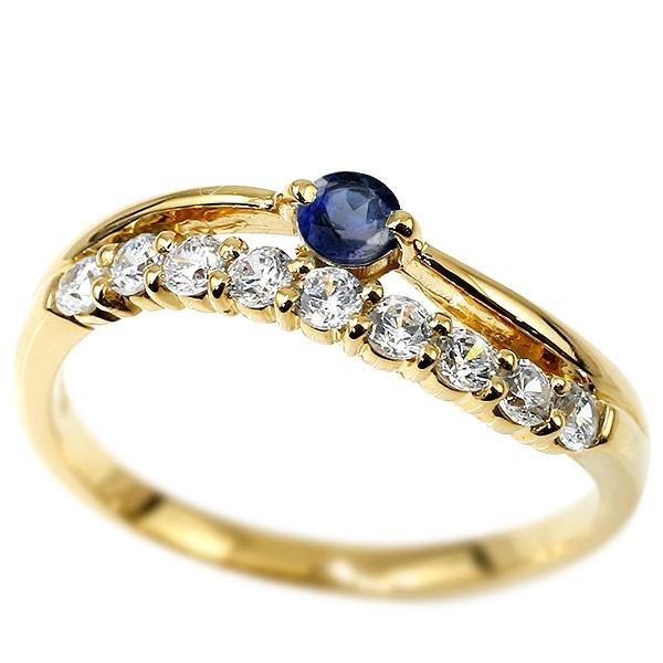 リング イエローゴールドk10 サファイア 指輪 ピンキーリング