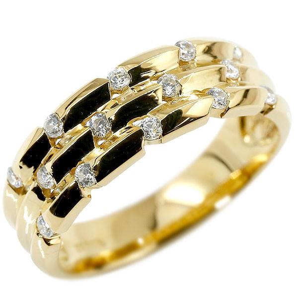 リング イエローゴールドk18 婚約指輪 ピンキーリング 幅広 エンゲージリング