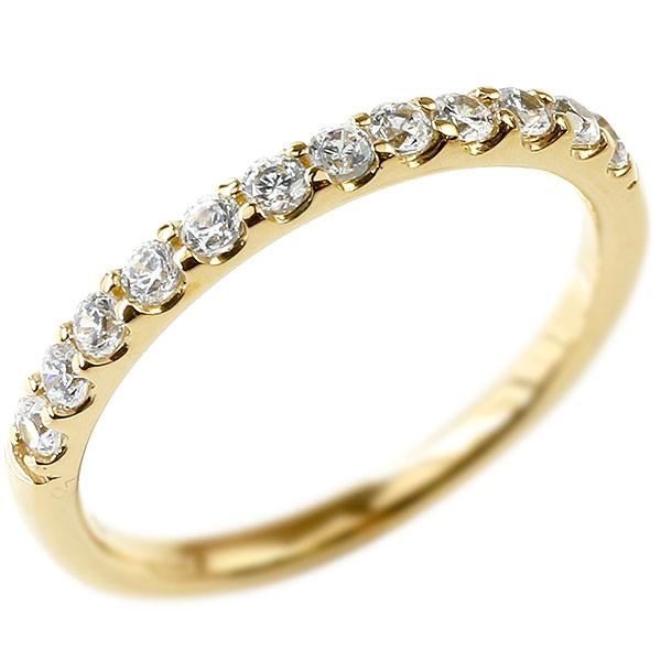 婚約指輪 ダイヤモンド ハーフエタニティ リング イエローゴールドk18 エンゲージリング ダイヤ 指輪 ピンキーリング 18金 宝石 レディース