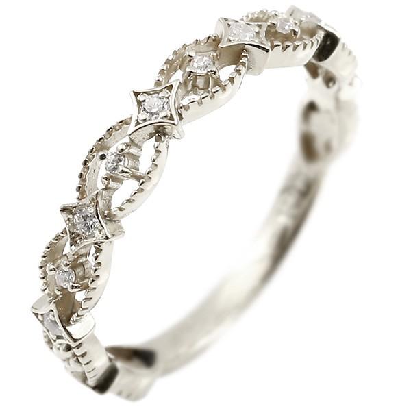 婚約指輪 リング キュービックジルコニア ホワイトゴールドk18 ピンキーリング 指輪 透かし エンゲージリング レディース