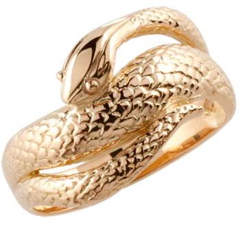 蛇 リング 指輪 スネーク ヘビ ピンキーリング ピンクゴールドk18 地金リング シンプル レディース 宝石なし
