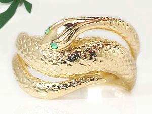 【送料無料】エメラルドイエローゴールドk18白蛇指輪 小指用にも【工房直販】