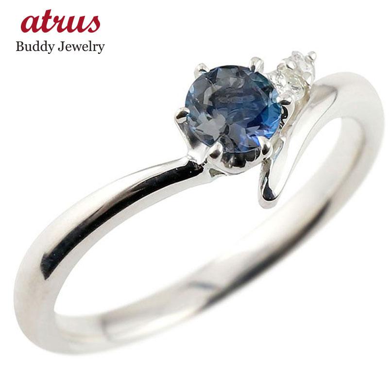 ブルーサファイア シルバーリング ダイヤモンド 指輪 ピンキーリング 一粒 大粒 sv925 レディース 9月誕生石